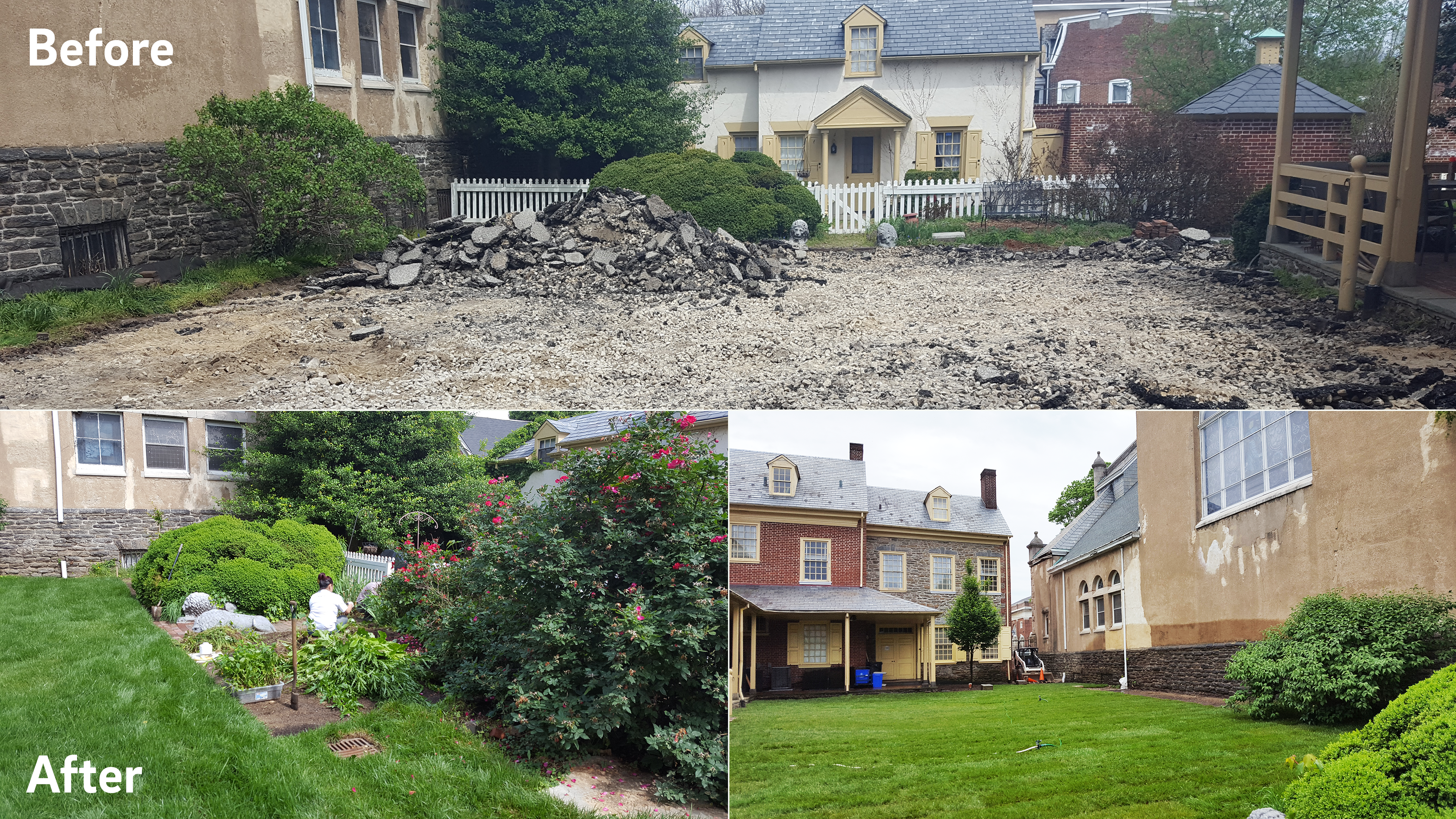Top: a view of the courtyard area before the upgrade shows broken-up asphalt between charming historic buildings. Bottom Left: volunteers hard at work planting the new rain garden. Bottom Right: a view of the courtyard area after the upgrade shows a luscious green space with grass and natural landscaping replacing the former impervious pavement.