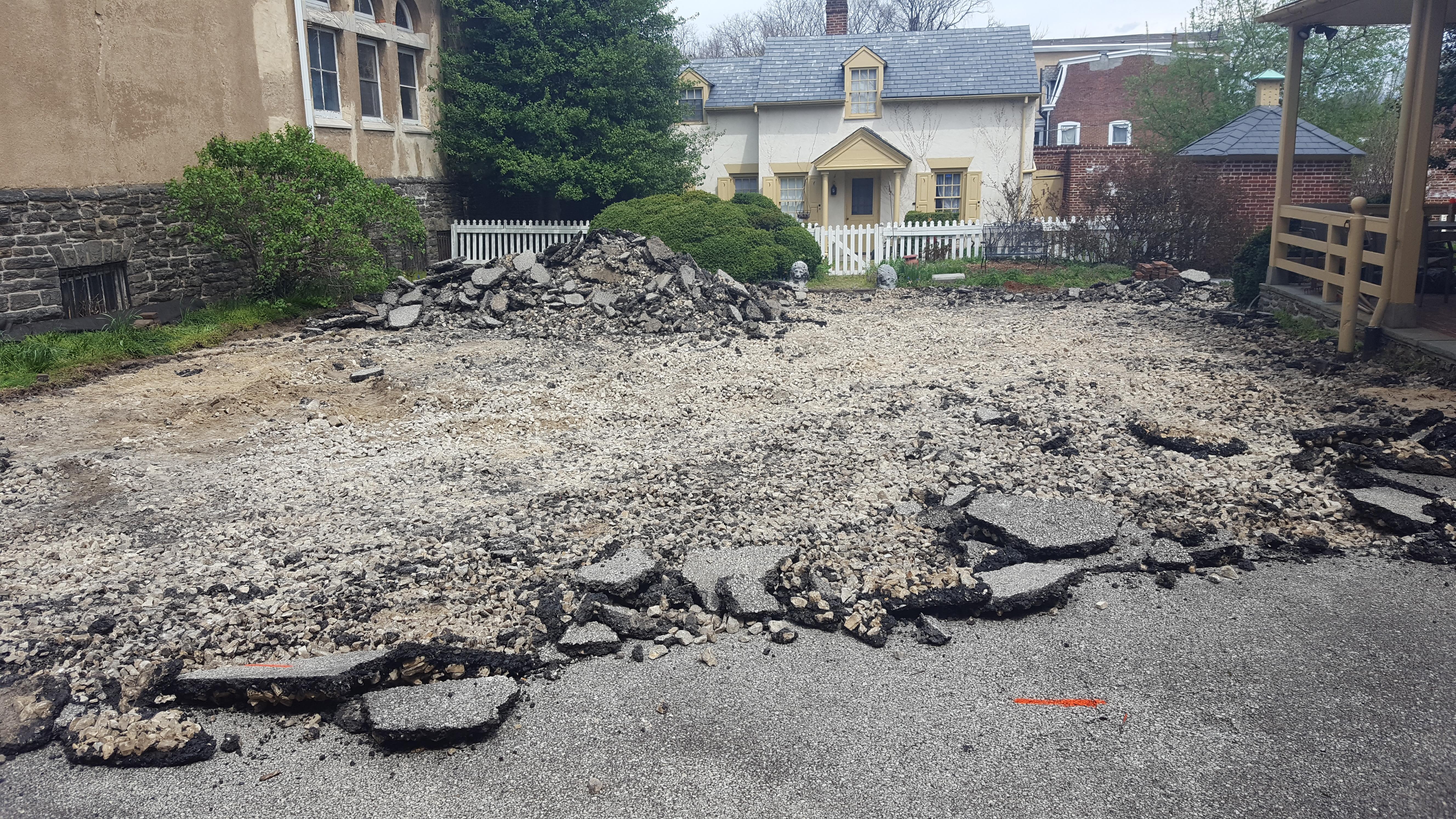 the asphalt courtyard as demolition begins