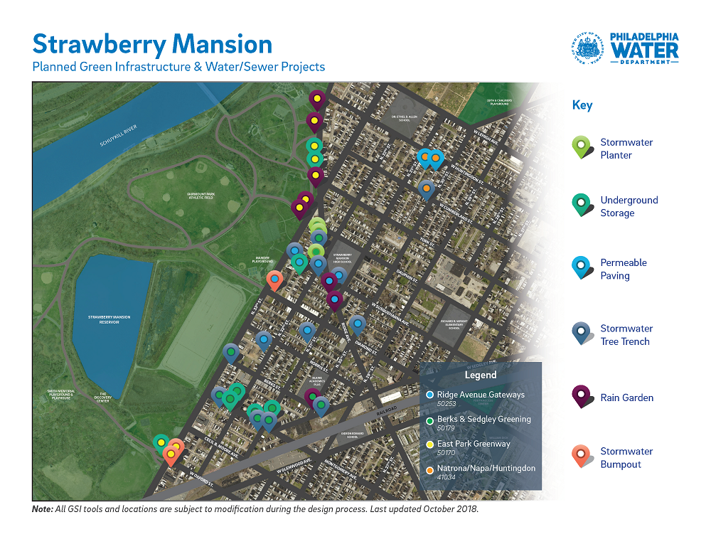 A map showing planned <em>Green City, Clean Waters</em> stormwater infrastructure projects in the Strawberry Mansion area.
