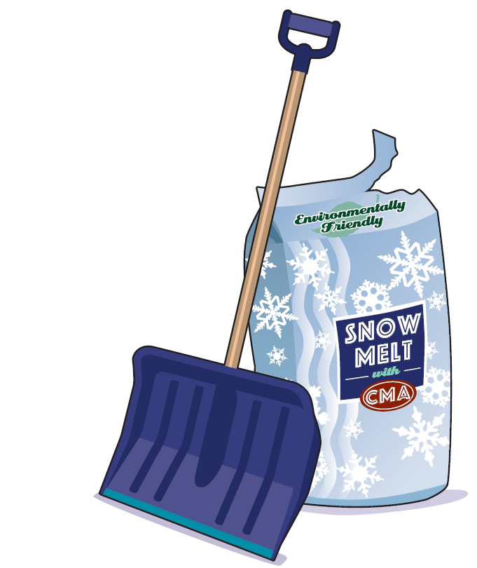 illustration of a snow shovel leaning on a bag of eco-friendly icemelt