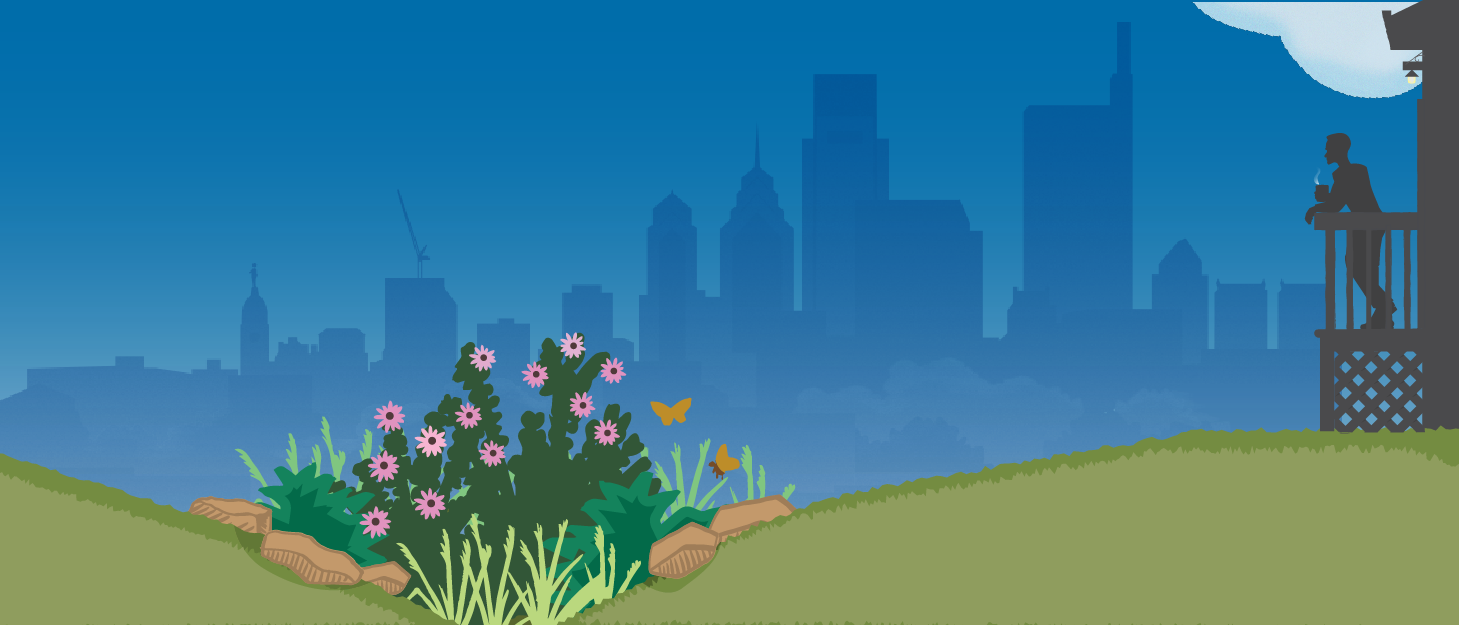 An illustration showing the silhouette of a person leaning on a porch railing, enjoying a steaming hot beverage, looking out at a backyard rain garden full of greenery, flowers, and butterflies, with the Philadelphia skyline in the background.