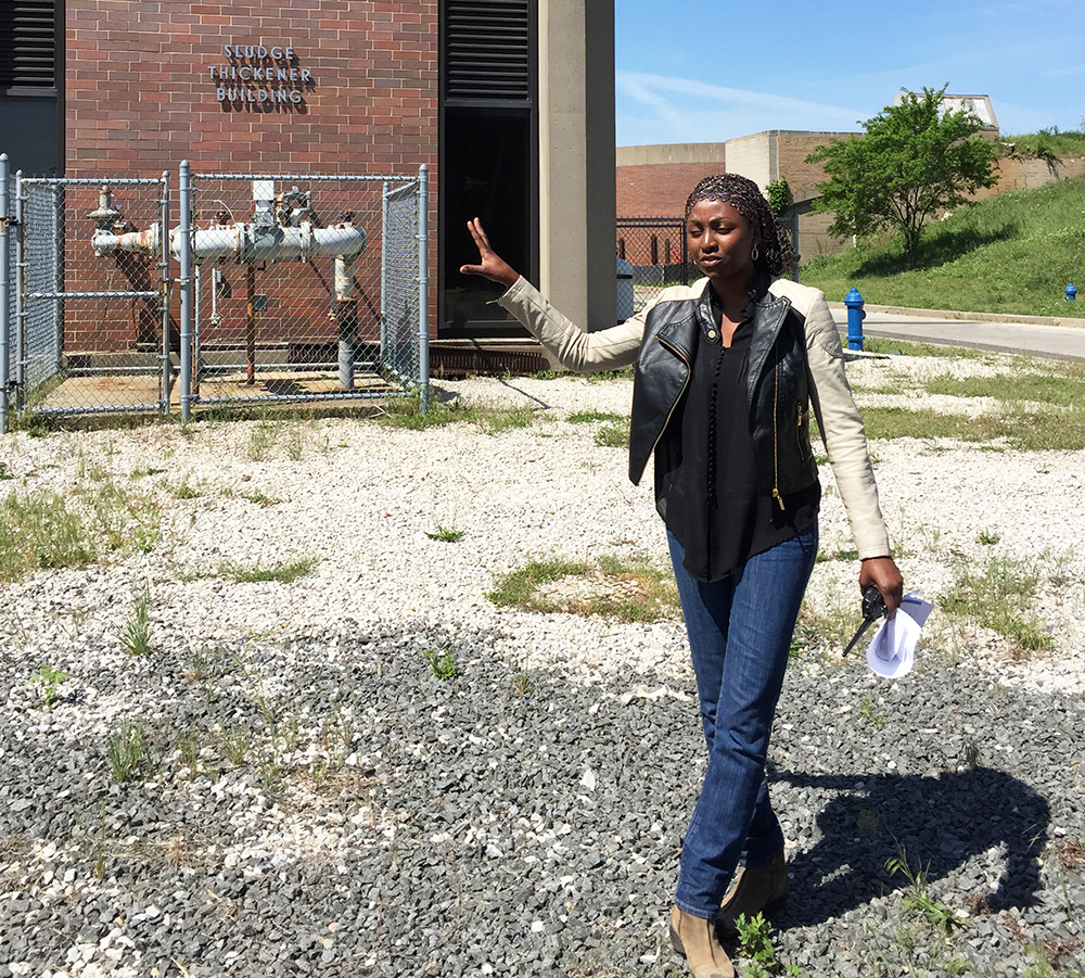 Nafissa Bizo, an Environmental Engineer, gives a tour at the the Northeast Water Pollution Control Plant.