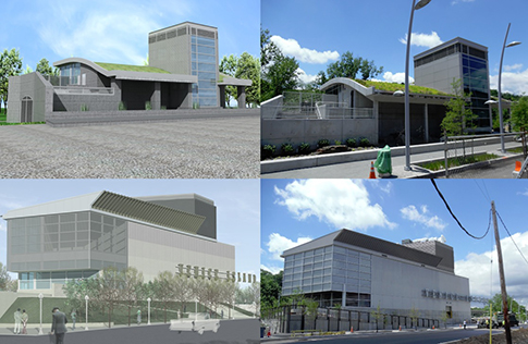 Renderings (at left) of the Performing Arts Center and Head House compared to the finished buildings, at right.