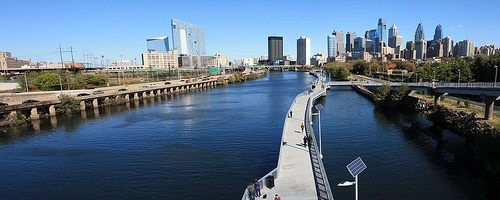 View of the Schuylkill Banks section of the Schuylkill Trail from the South Street Bridge.