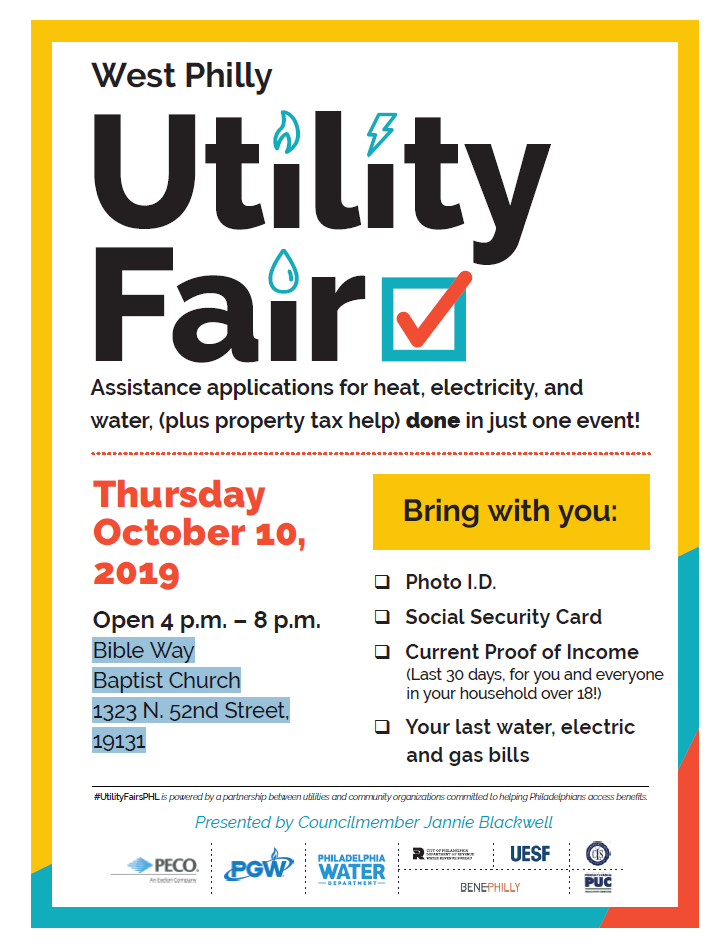 The Utility Fair will take place with staff from Councilwoman Blackwell's office Click for details about what to bring.
