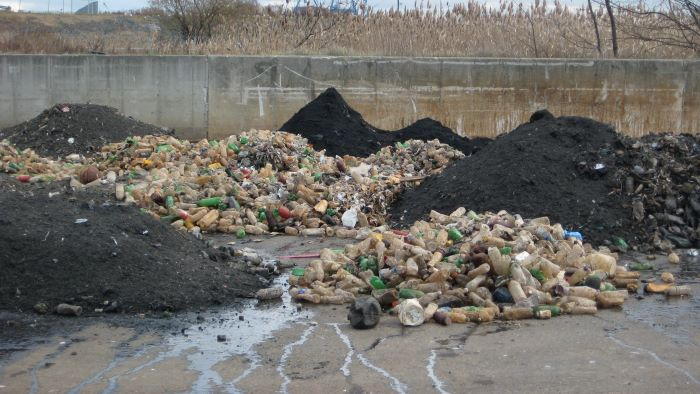 Piles of litter at PWD treatment plant. These plastic bottles had to be screened out along with wipes.