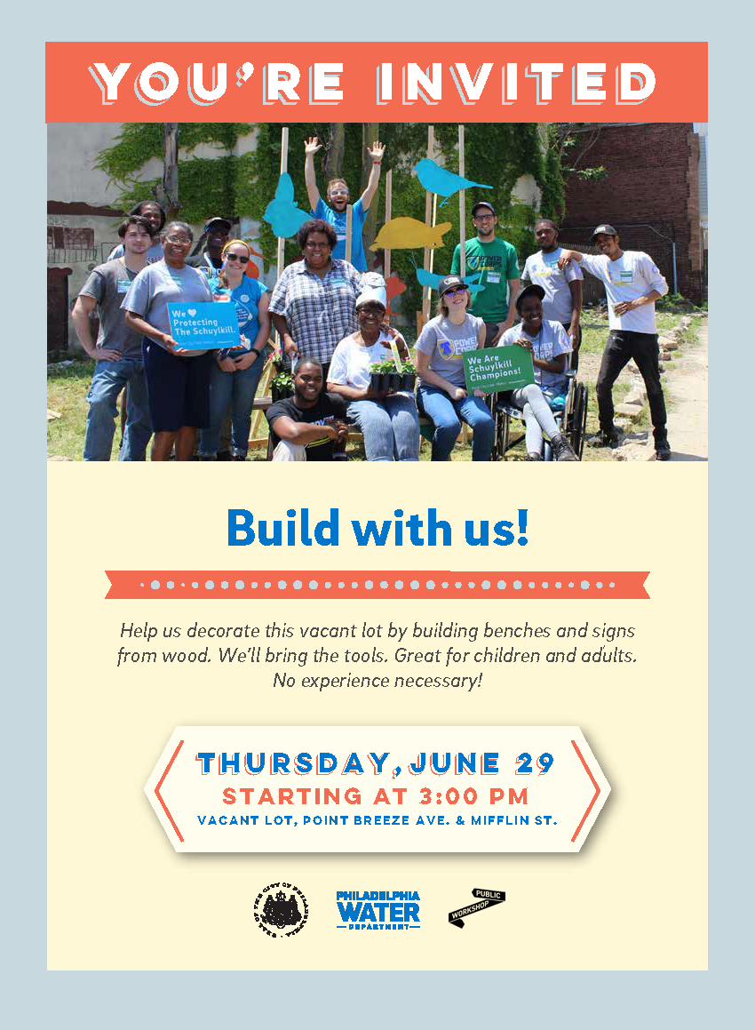 "Residents are invited to join this collaborative ""community build"" June 29 at 3 p.m. and construct decorative wooden benches and signs for the emerging neighborhood green space"