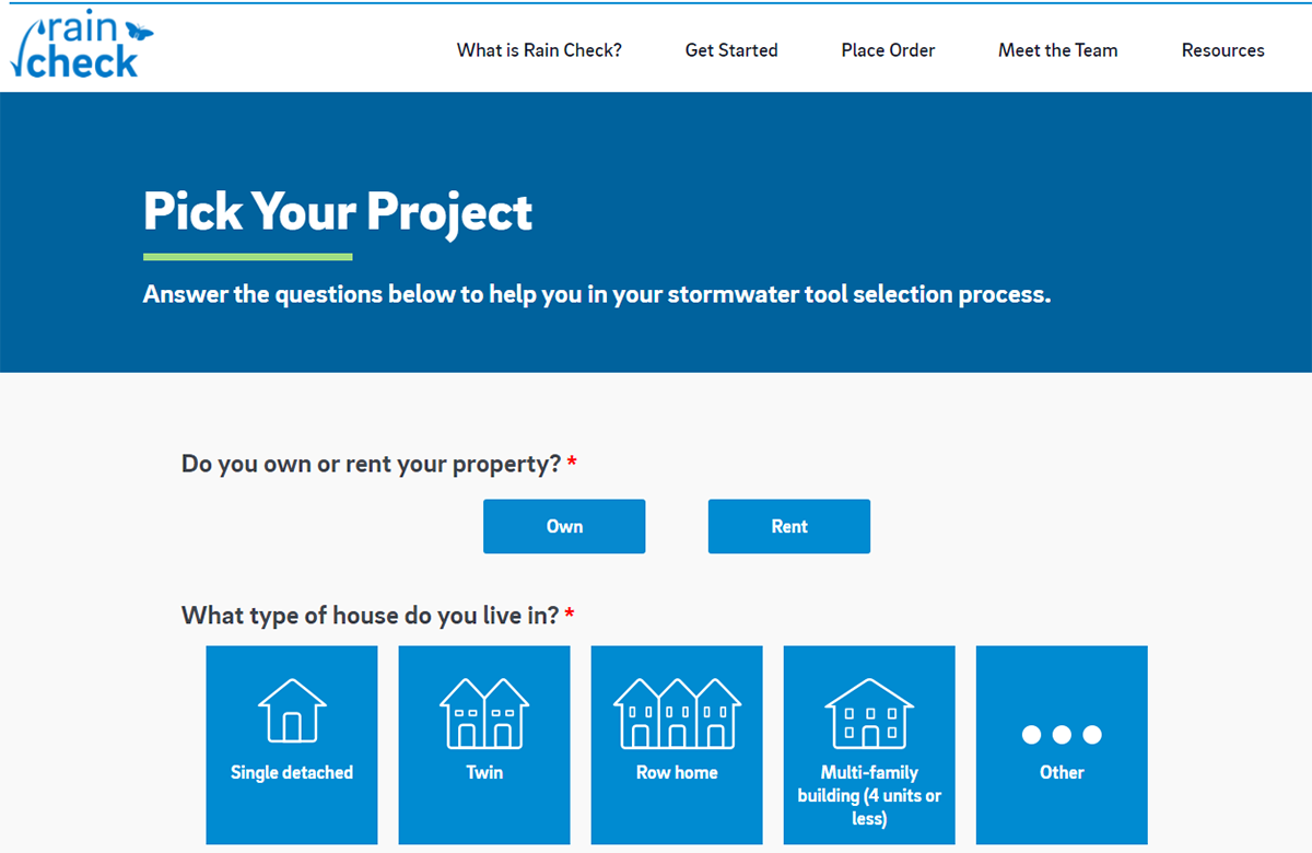 Screenshot of the new Rain Check website - Click this image to visit the new Rain Check site and answer a few questions that will help you find the best discounted green stormwater improvement for your home.