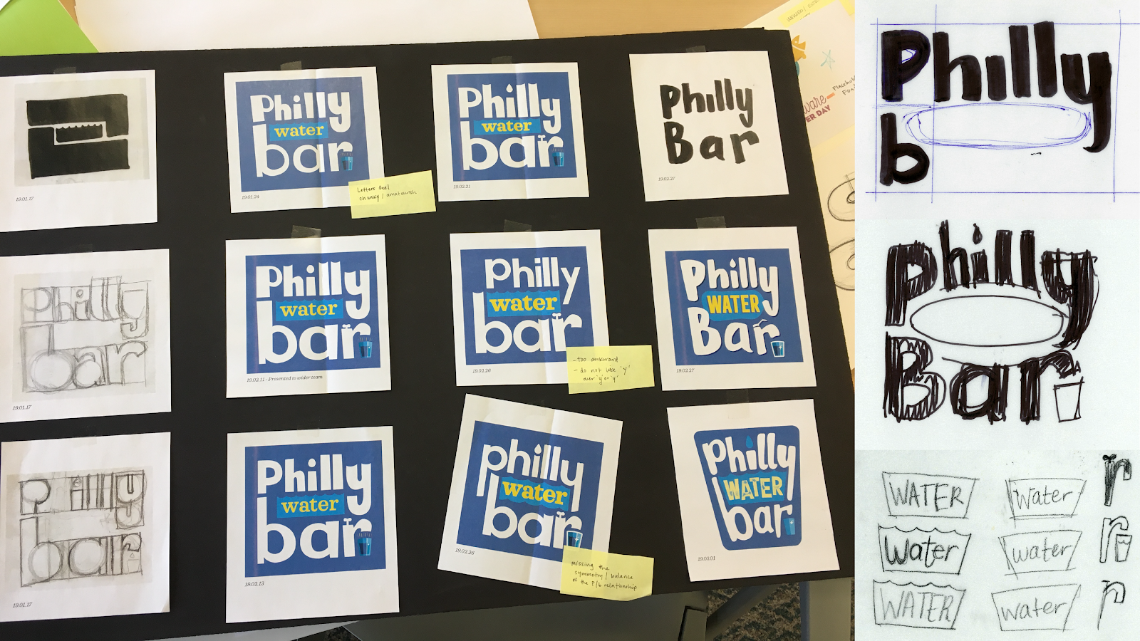 sketched ideas and various iterations of the Philly Water Bar logo pasted on a black board, with sticky-note comments next to some drafts